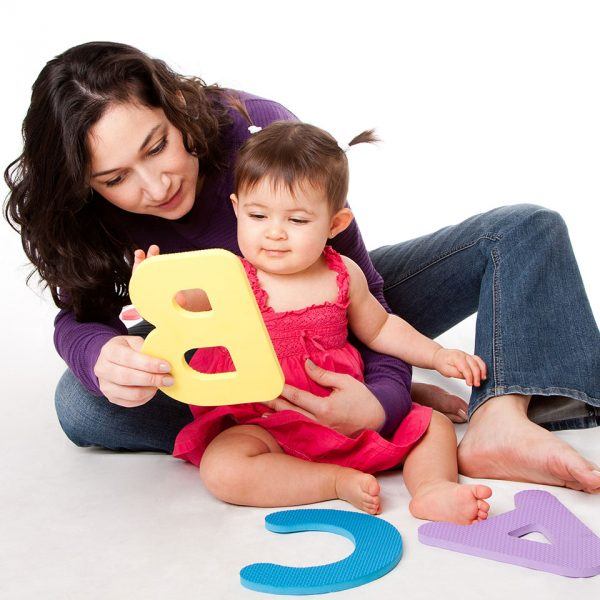 Mom & baby playing with foam letters